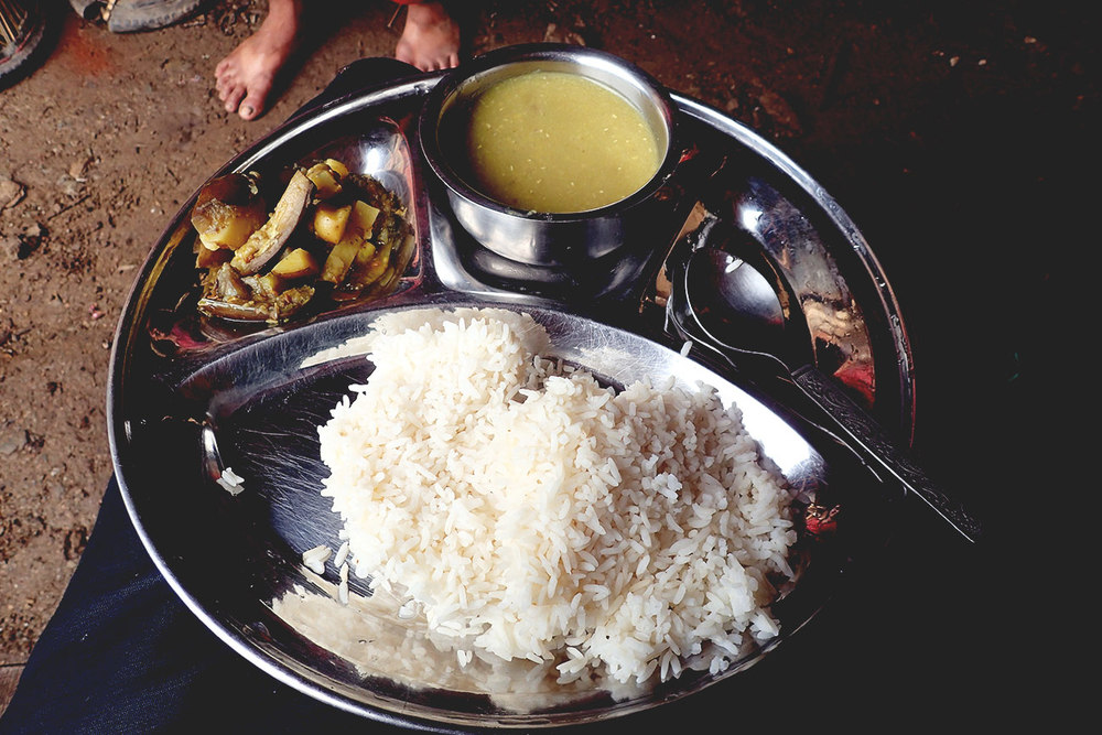 The traditional Nepali dish, dal bhat