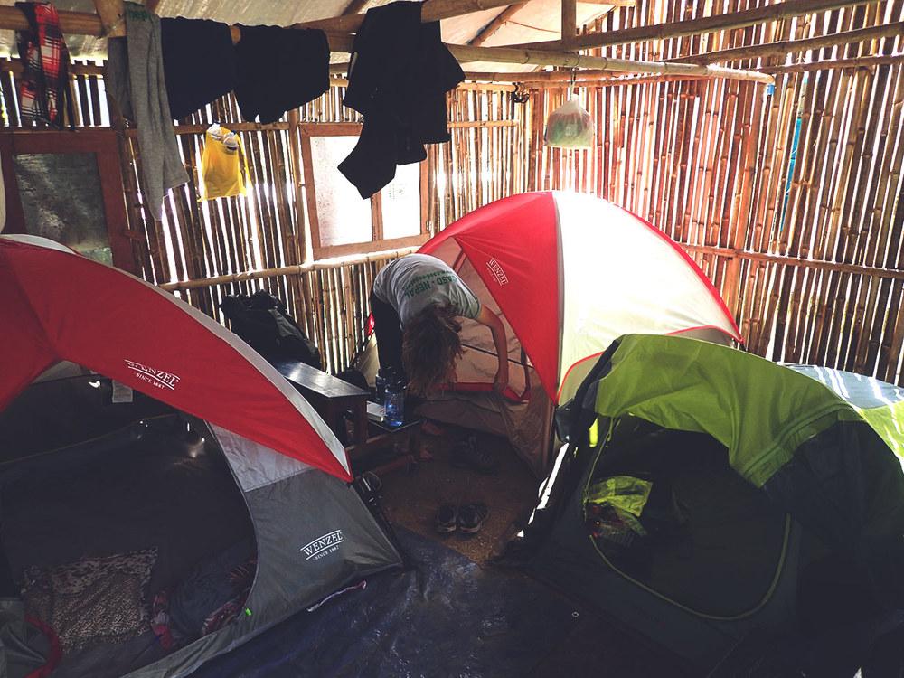 The volunteer camp set-up in Ghusel, Nepal