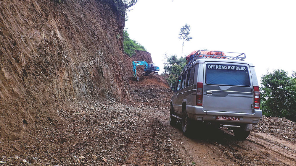 Our jeep ride to the village had no choice but to turn around due to a landslide! Our safest option was to walk the remaining stretch of the way.