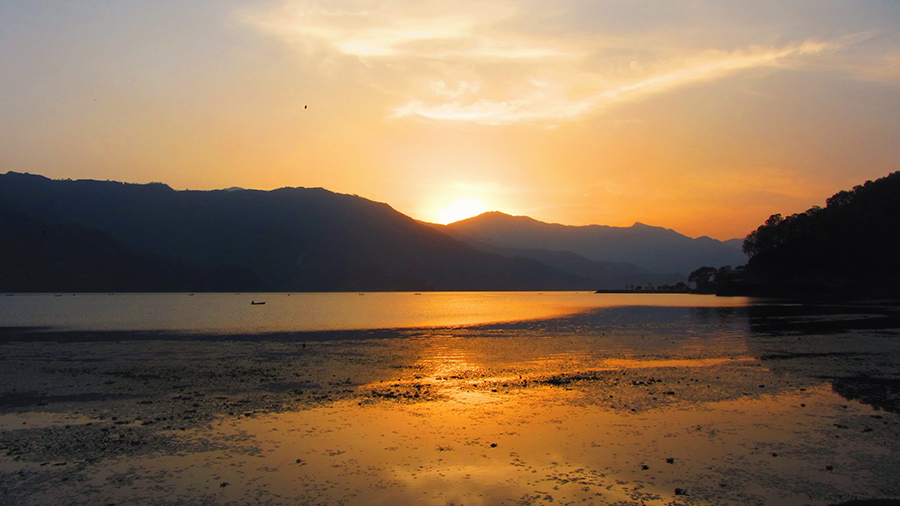 Sunset on Phewa Tal on Lakeside, Pokhara
