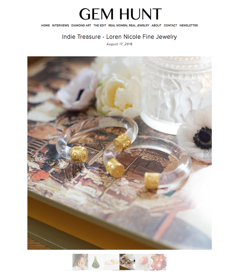 Indie Treasure - Loren Nicole Fine Jewelry  by Catherine Cason. gemhunt.co. August 2016.   Read the article here