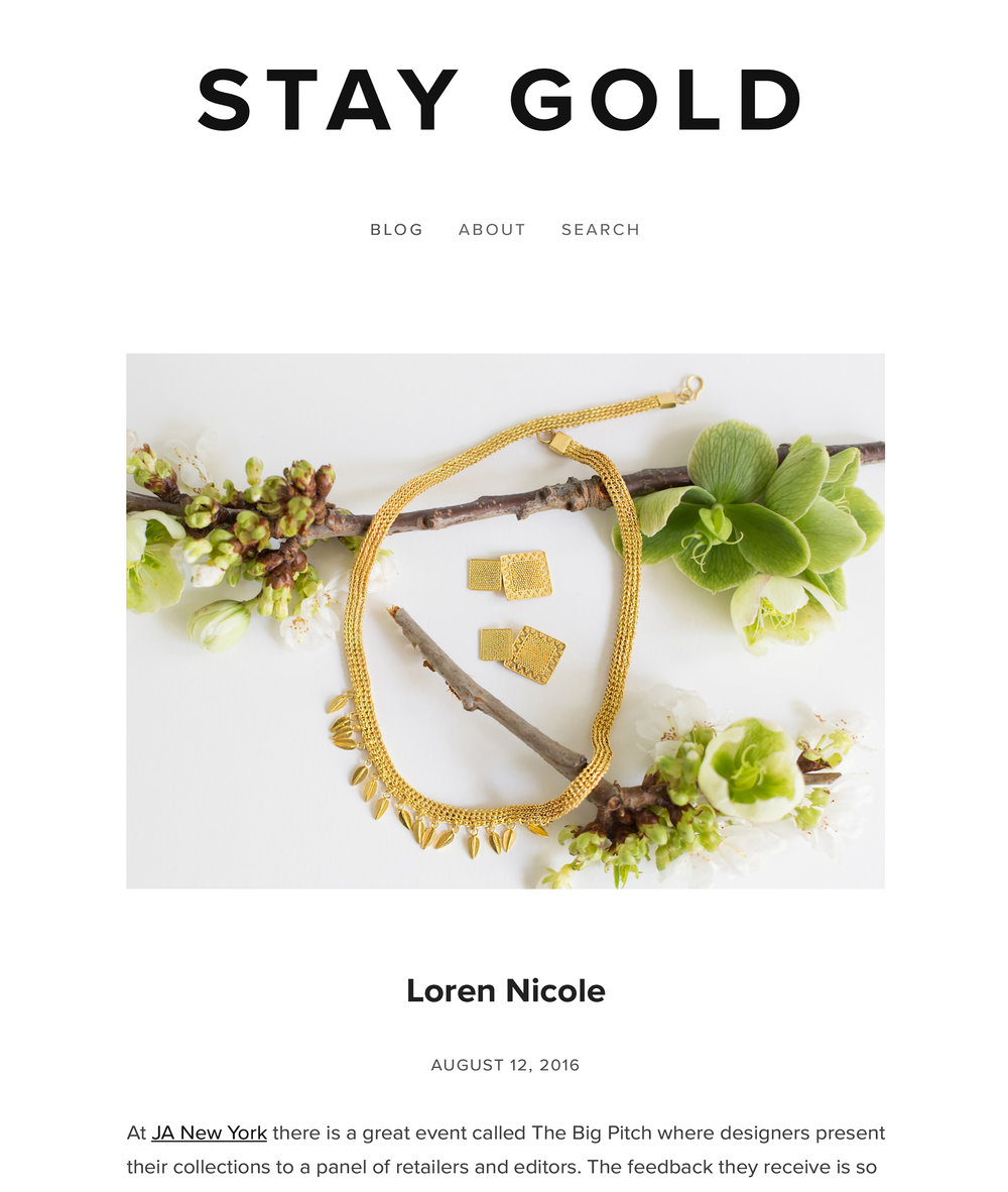 Loren Nicole  by Liz Kantner. staygoldjewelry.com. August 2016.   Read the article here