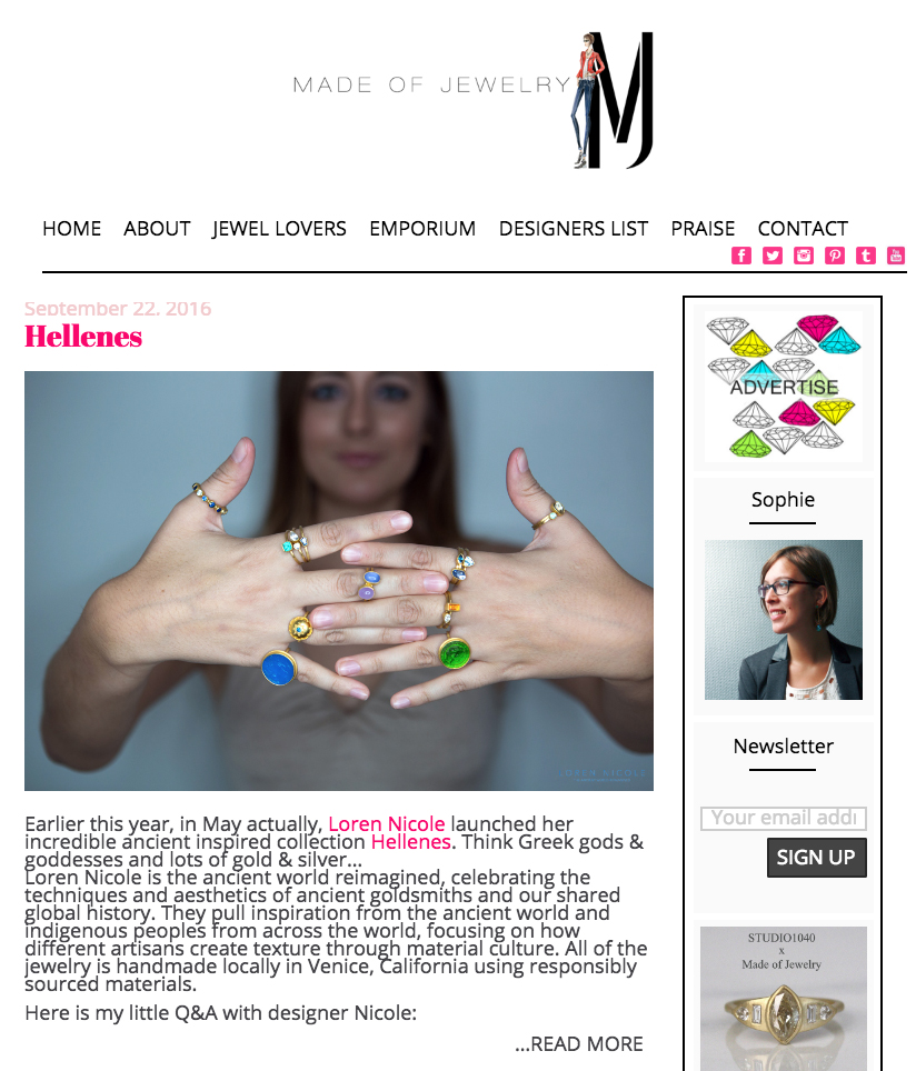 Hellenes  by Sophie. www.madeofjewelry.com. September 2016.    Read the article here
