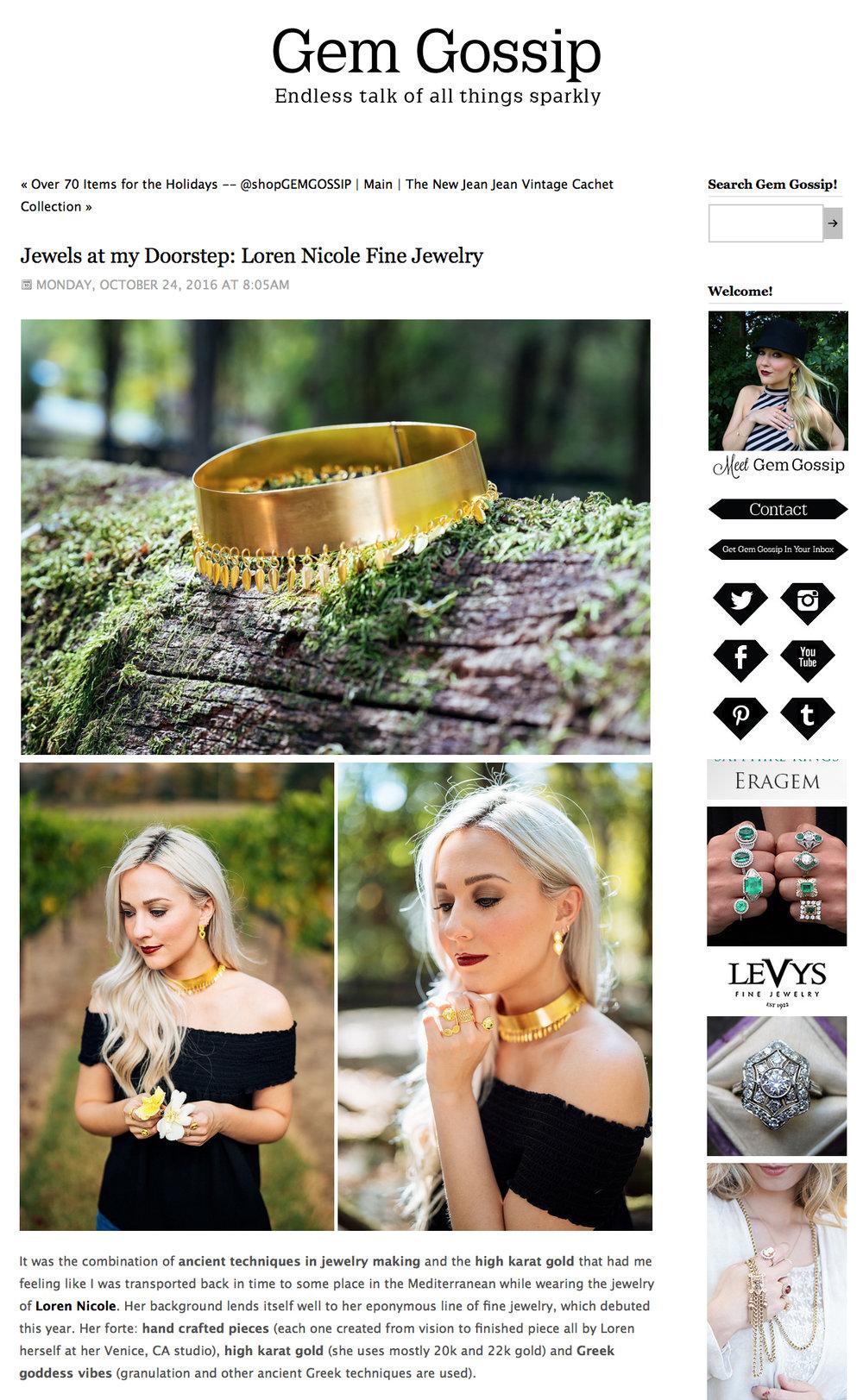 Jewels at my Doorstep: Loren Nicole Fine Jewelryby Gem Gossip. October 2016. Read article here