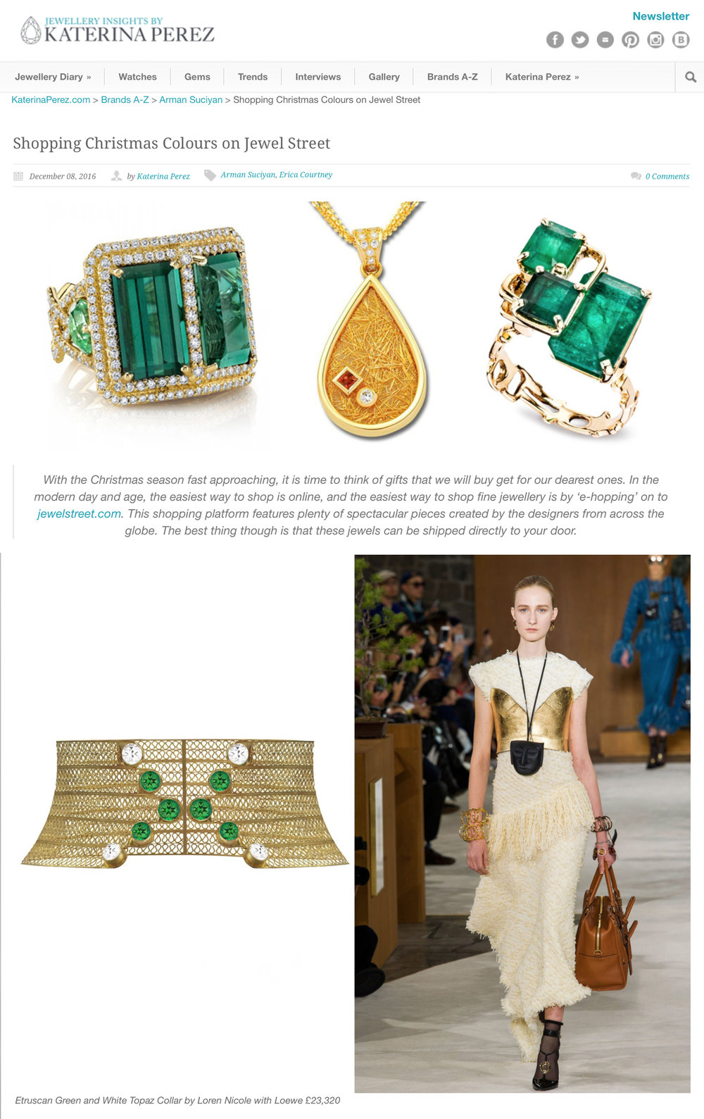 Shopping Christmas Colours on JewelStreet  by  Katerina Perez. December 2016.      Read Here