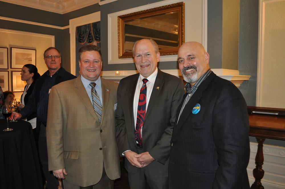 UA Political Director Larry Bulman, Alaska Governor Bill Walker, and AK AFL-CIO President Vince Beltrami.