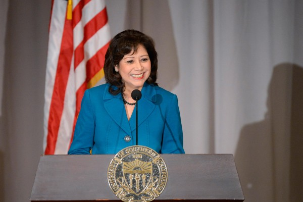 Hilda Solis has met with USC leaders to discuss east Los Angeles' biotech future. (USC Photo/Gus Ruelas)