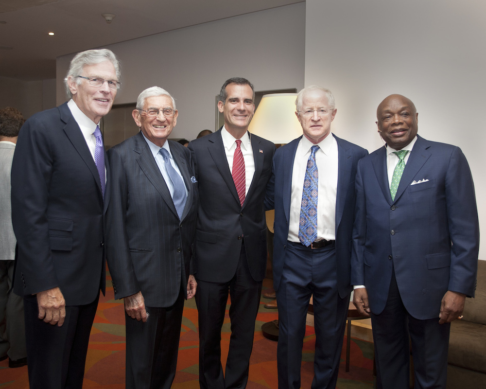 Nelson Rising with Eli Broad, Mayor Eric Garcetti, William Witte, and Willie Brown