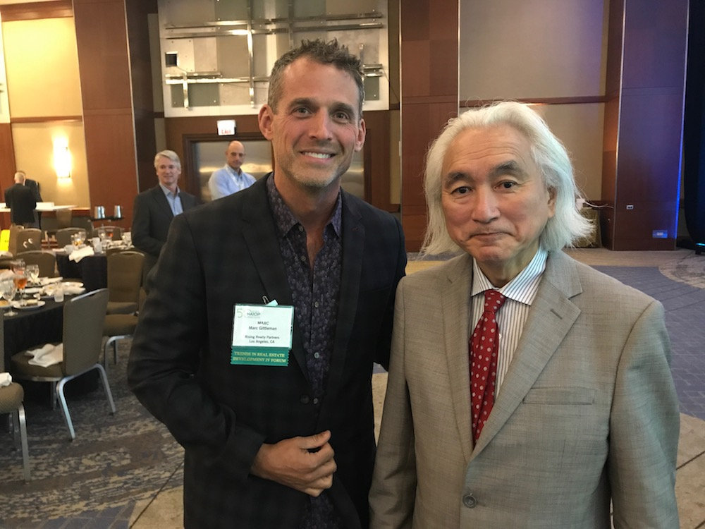 Rising's EVP 3rd Party Management, Marc Gittleman with bestselling author and celebrated futurist, Michio Kaku.