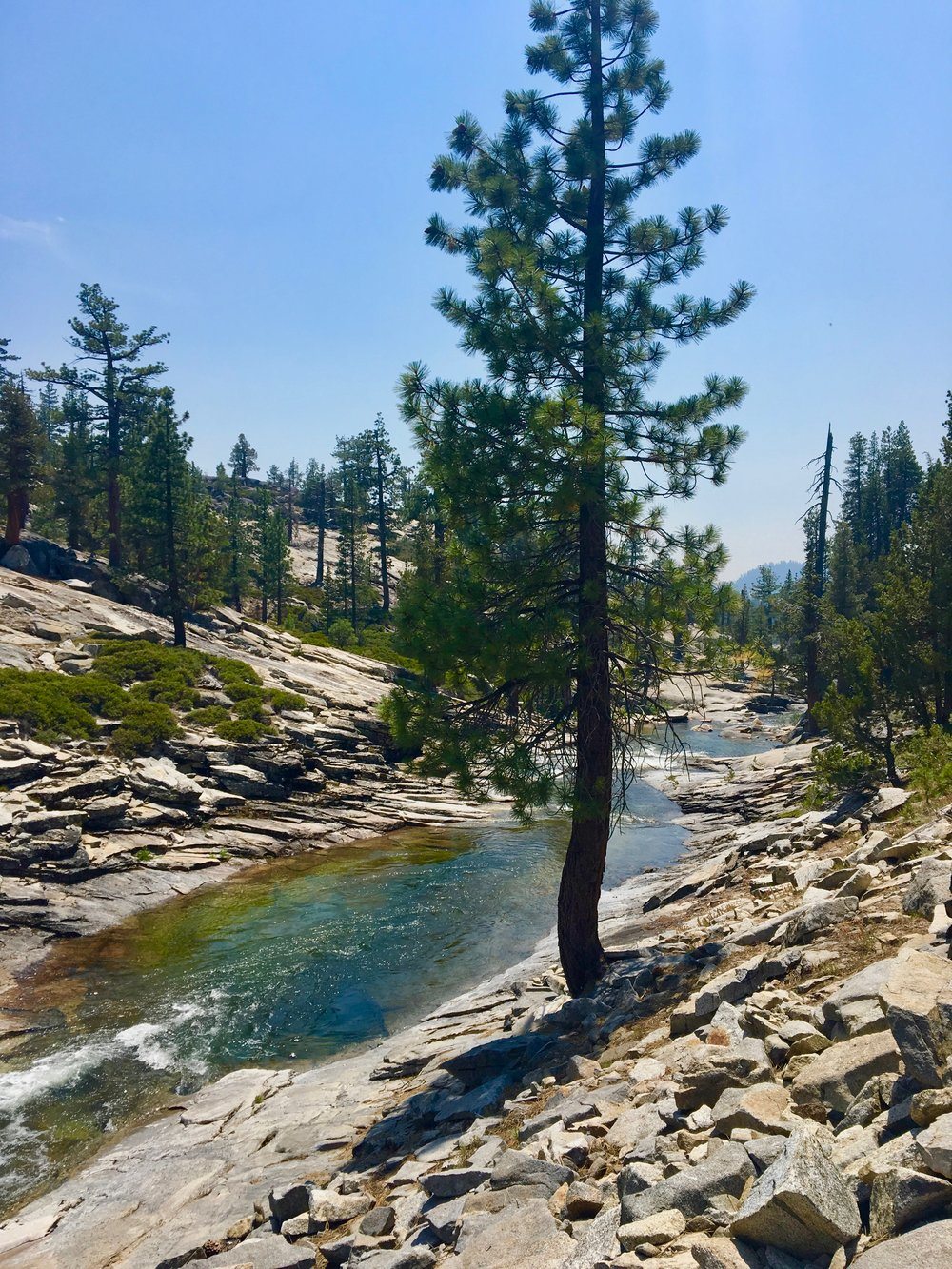 The granite pools of Yosemite Creek.