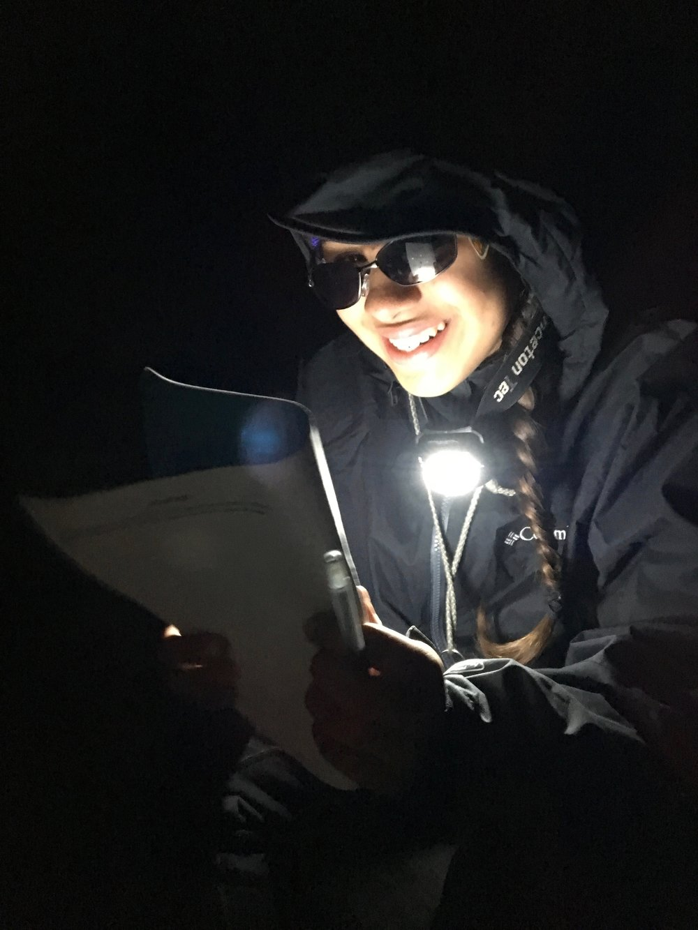 Laughs cracks us up by wearing her 'Neo' glasses at night.
