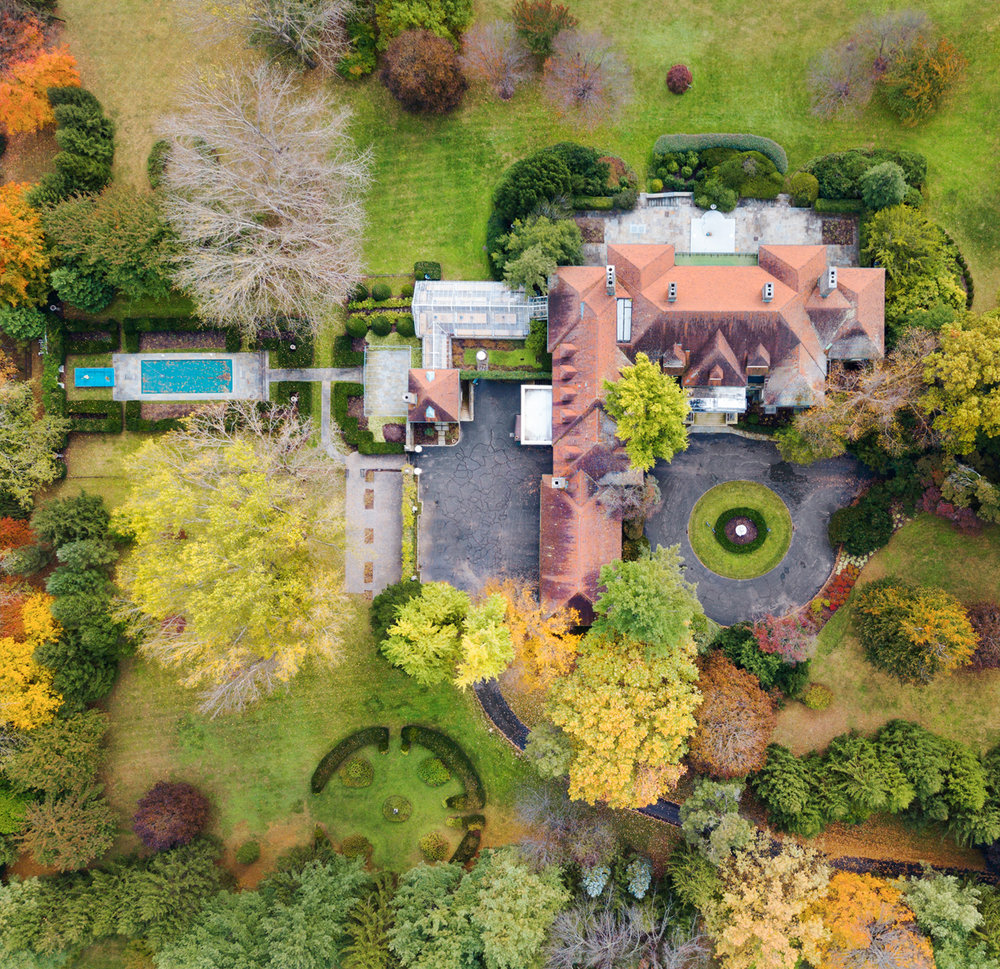 Fall from above. Gardens of a 43,000 square foot home in Villanova, PA