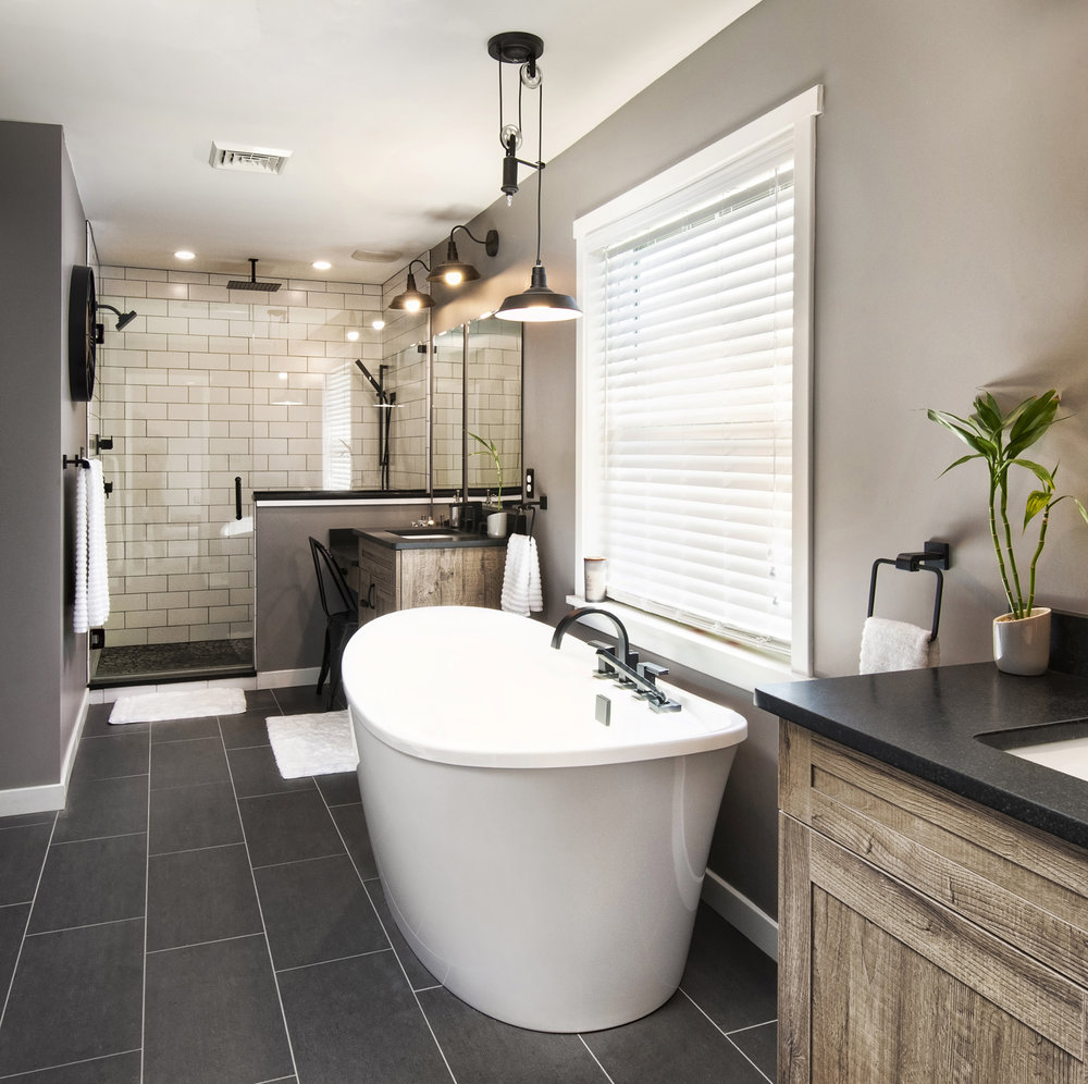 Beautiful master bath combo, and what a great pulley light over the tub. Imperial Construction, Parade of Homes in Berks County 2018. I loved shooting this award winning home. The staff is second to none!