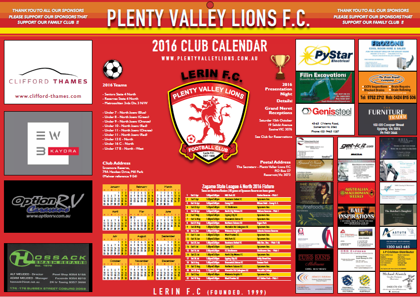 2016 Sponsors Calendar