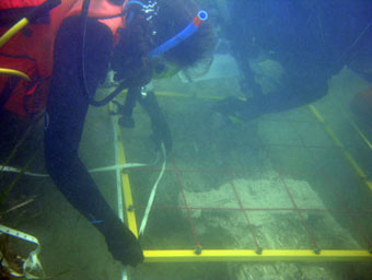 The Team measures the rudder section on the French armed merchantman we call   The Tile Wreck   which sunk in the 1720's