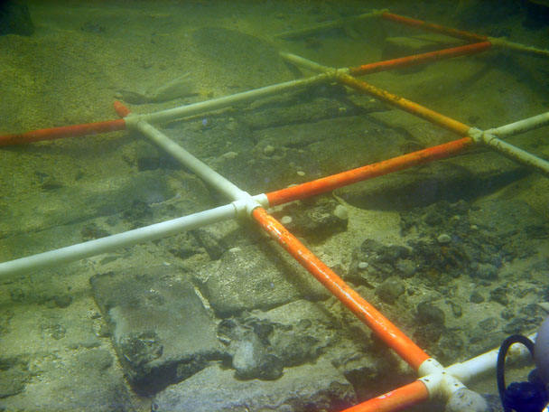 The cargo of pre cut granite blocks on the cargo deck of The Tile Wreck
