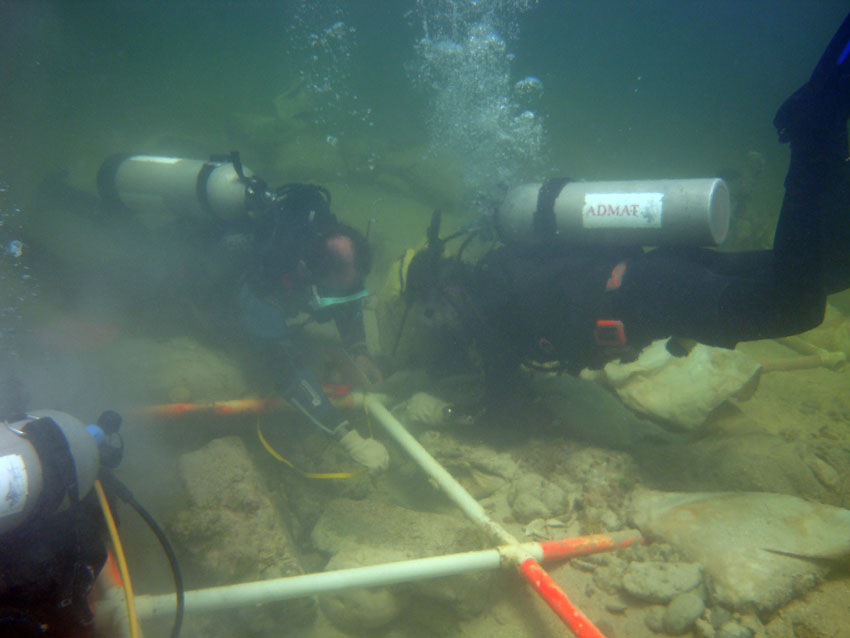 Students being trained on how to measure artefacts on The Tile Wreck