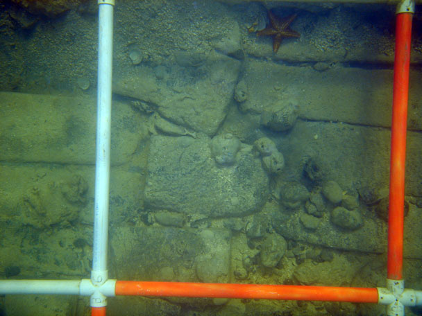 Some of the granite blocks on the cargo deck on The Tile Wreck
