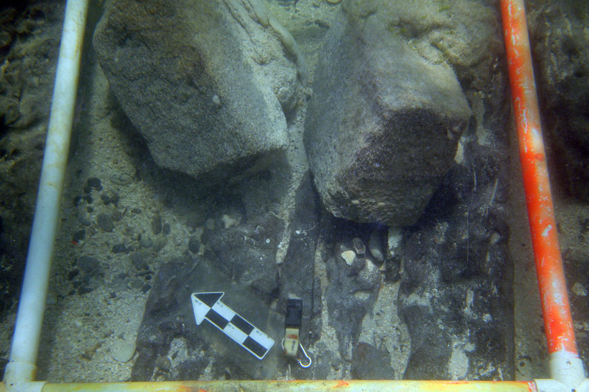 Some of the cargo of French granite building blocks on the cargo deck of The Tile Wreck
