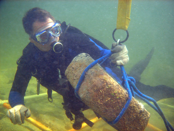 Project Leader John Downing transporting one of the granite blocks