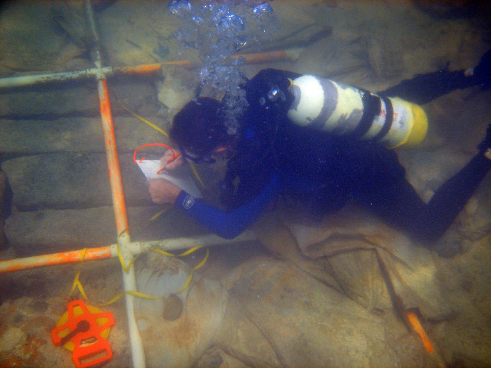 John surveying the cargo of granite blocks on   The Tile Wreck   in 2008