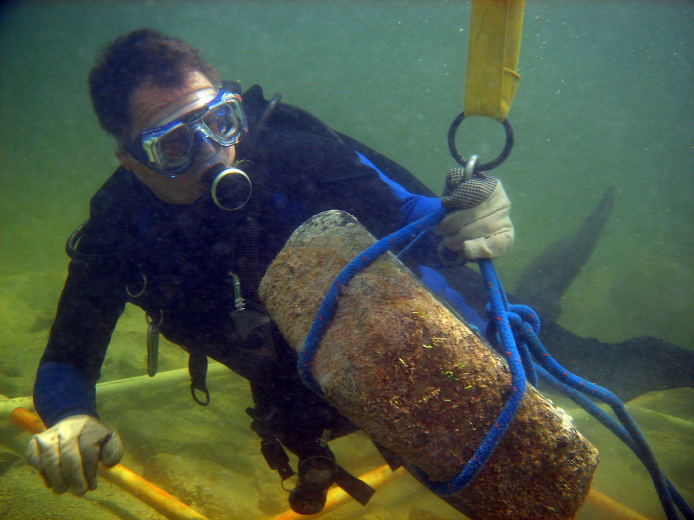 John at work repositioning and weighing one of the granite blocks on   The Tile Wreck   2008