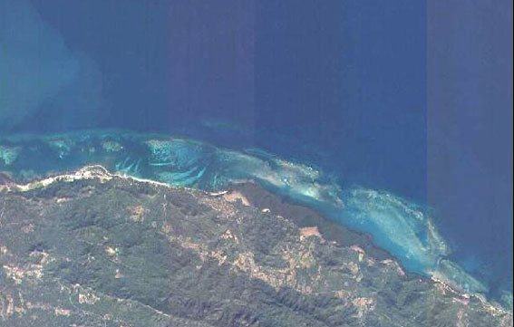 Google Earth image of the reef where Le Casimir was wrecked to the east of Monte Cristi