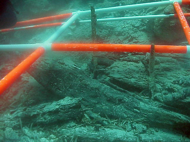 A section of the keel with a diagonal scarff joint and bent bronze keel bolts. the bolts were bent about 45 degrees by the force of the wrecking process.