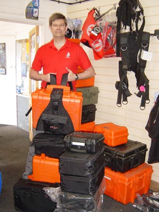 Dr Spooner with all theExplorer Cases and the padded bags.