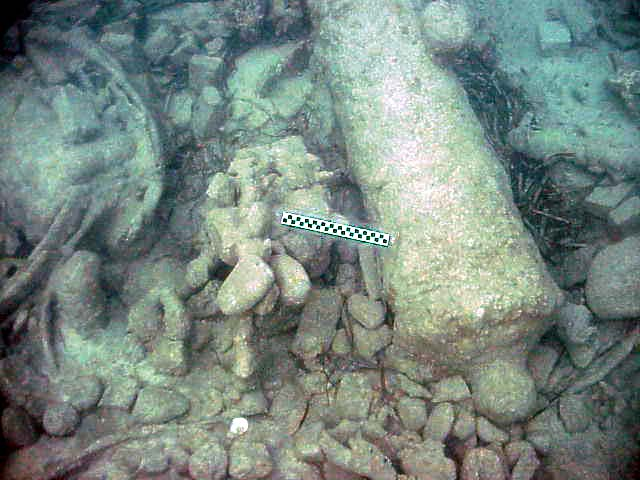 Cannon No:5 with the remains of mast rings on the left