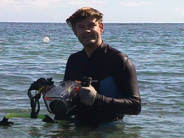 Dr Spooner after one of the first dives to the site