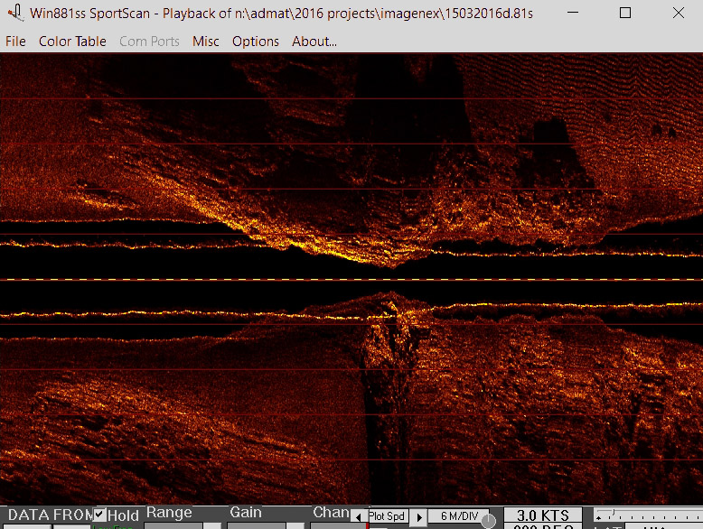 A detailed screen grab from the Imagenex Sportscan Side Scan Sonar, as the sensor goes over a patch reef with the sensor nearly hitting the reef