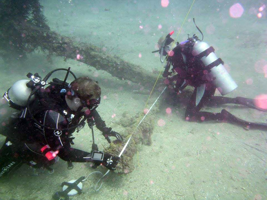 Stephen measuring the large anchor on   Wreck Two   site in 2016