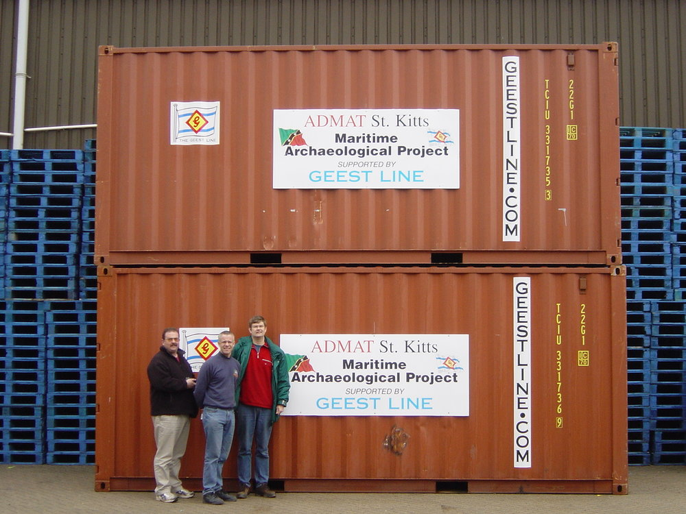 Jeremy Schomberg, Andrey Shrimpton and Simon Spooner with the fully loaded Geest Containers going to St Kitts.