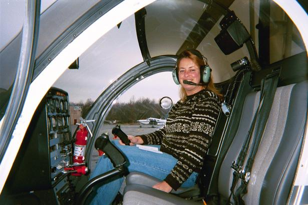 Kathy at the controles after her solo flight