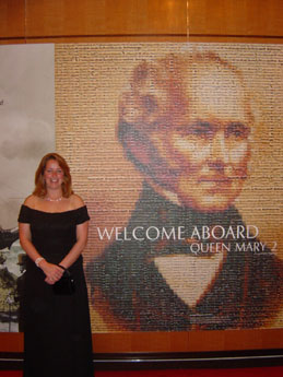 "Kathy Schubert, ADMAT USA's President, whilst on the Queen Mary 2 during ADMAT's ""Excavating Shipwreck"" Lecture Tour."