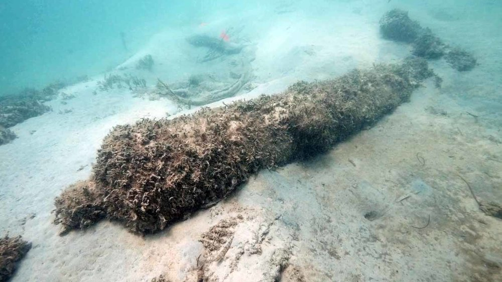 Cannon Two, a 9pdr iron Carron cannon which had been uncovered by the earlier storms, covered with marine algae above the bow