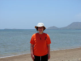 Sarah on the beach at Monte Cristi bay