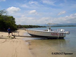 Patrick Enlow waiting for the tide to come in so we can launch ADMAT's Aquasport