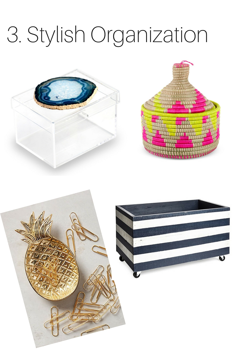 Agate Lucite Box  //  Basket  //  Pineapple Tray  //  Crate with Wheels