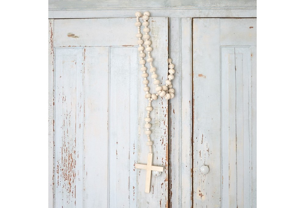 Large White Washed Wood Rosary
