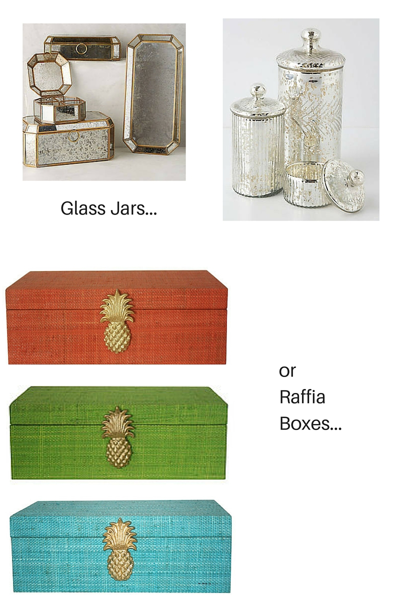 Glass Jars from Anthropologie.  Raffia Boxes from Society Social.