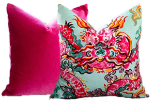 Pink Velvet Pillow  //  Jim Thompson Enter the Dragons Chinoiserie Pillow
