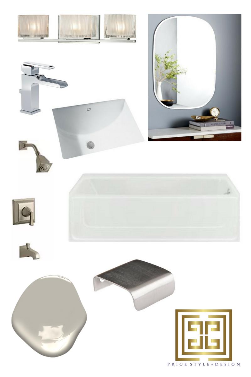 Light Fixture ,  Mirror ,  Faucet ,  Sink ,  Shower Hardware ,  Bath Tub ,  Paint Color ,  Cabinet Hardware