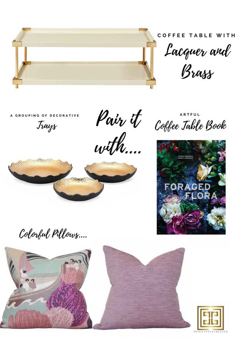 Click on these links for more information or to purchase:   Coffee Table   //  Trays   //  Coffee Table Book   //  Patterned Pillow   //  Amethyst  Pillow