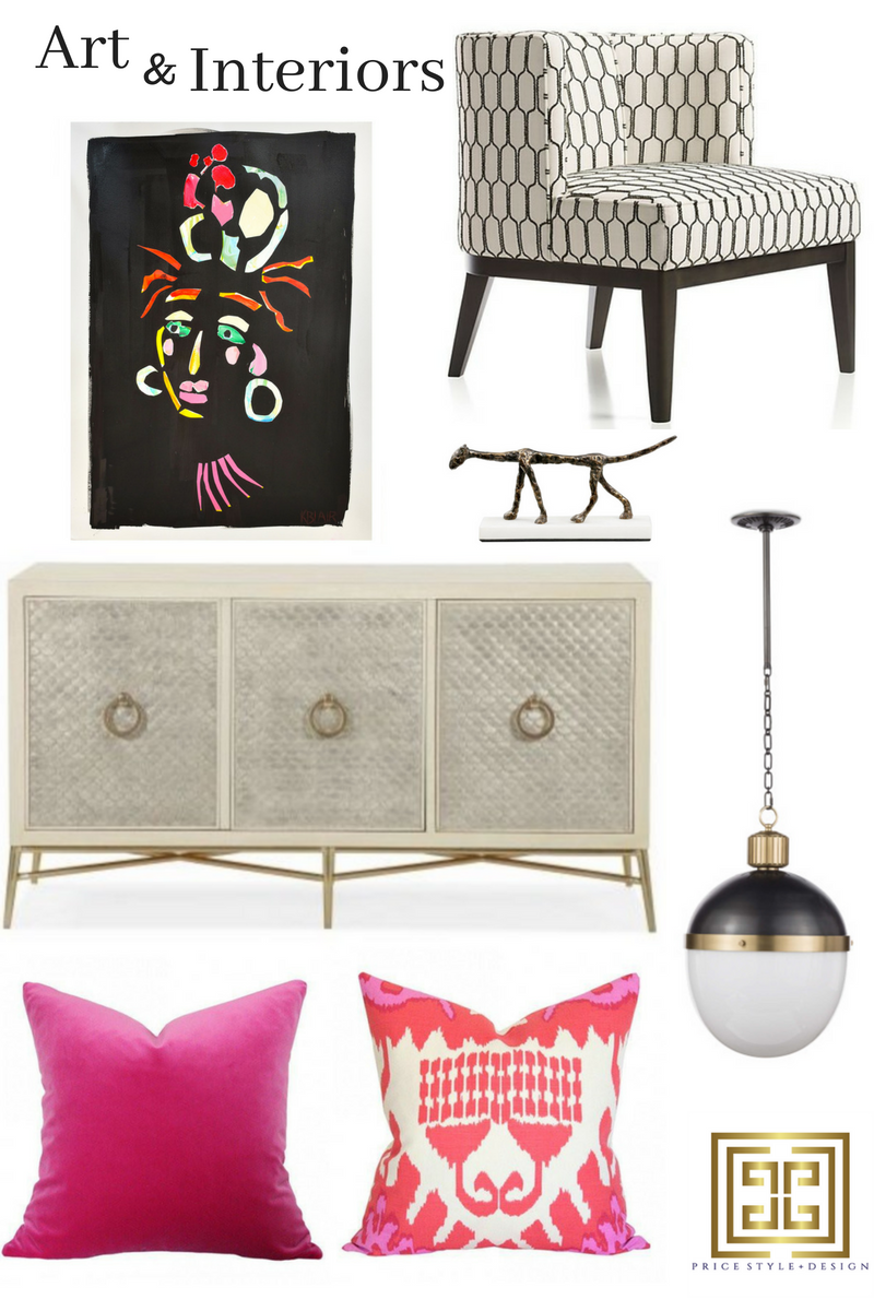 Art  //  Chair  //  Sculpture  //  Pendant  //  Console Chest  //  Pink Pillow  //  Ikat Pillow