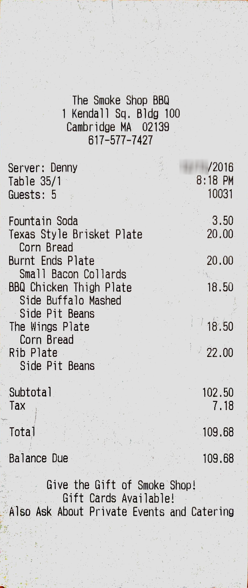 Sample Itemized Receipt