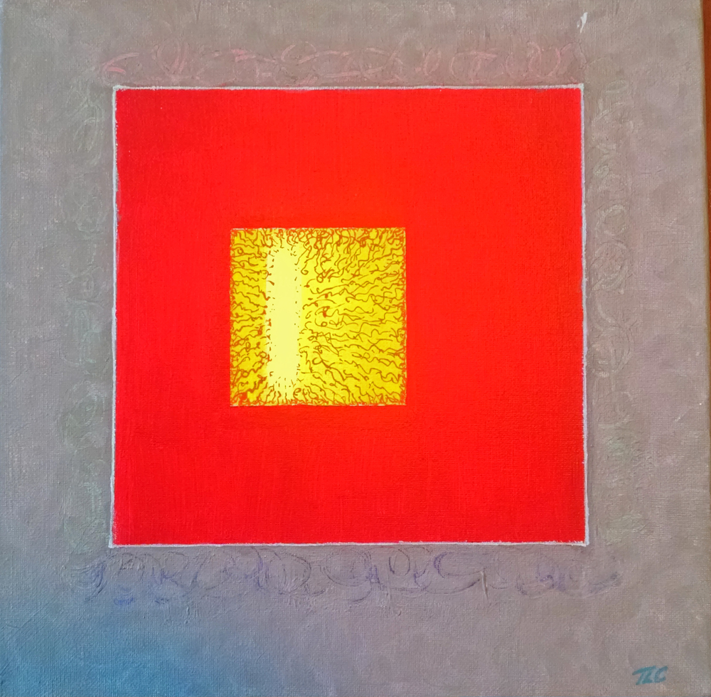 Red Window  (Acrylic, 12x12) Gifted to my friend, Jennifer Cooper.