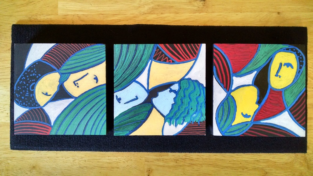 Couples (oil markers on three  4x4 wood blocks)  Sold the first time I exhibited it!