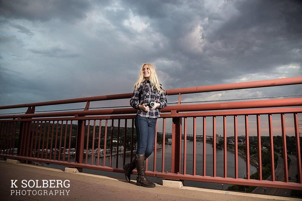 Kelsey (Class of 2018) poses on a bridge during one of the few moments the wind wasn't howling. We brought along an off-camera light, and got away just before the rain started falling.